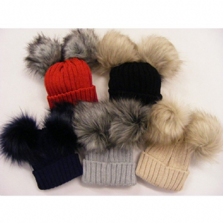 Ribbed Hat with Faux Fur Double Pom Pom